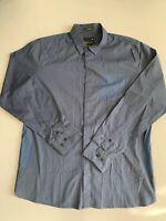 LANDS END Mens Button Down Shirt Large LongeSleeve Blue Lightweight 100% Cotton