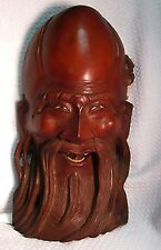 Solid Carved Rosewood Laughing Confucius Mask