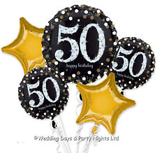 Happy 50th Birthday Bouquet 5 Foil Helium Balloons Black Gold Party Decorations