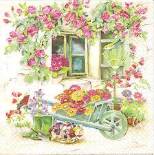 4 Single Paper Napkins for Decoupage Backyard Garden Flowers Wheelbarrow