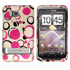 For HTC Thunderbolt 4G Protector Hard Case Snap on Phone Cover Silver Pink Dots