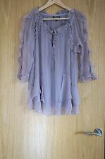 Topshop light purple sheer silky frill top *100% Cupro* RRP £55 size 6