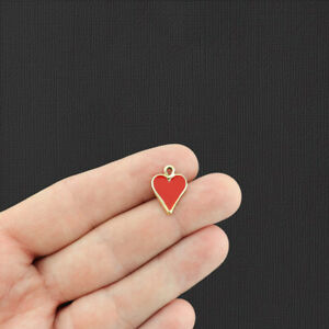 5 Red Heart Gold Tone Enamel Charms - E490
