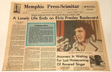 vintage ELVIS PRESLEY DEATH NEWSPAPER MEMPHIS TN PRESS SCIMITAR August 17 1977