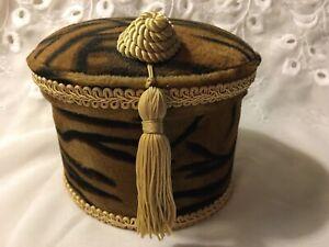 Tufted Fabric Oval Tiger Animal Print Decorative Storage Jewelry Box Gold Tassel