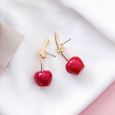 Cute Cherry Earring Metal Knot Design Drop Earring Woman Girls Fashion Jewelry