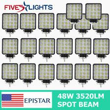 20PCS 48W LED Work Light Spot Beam Tractor Truck Offroad SUV 4WD RZR 6000K GMC
