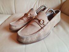 Gucci Mens Shoes Beige Suede Horsebit Loafers UK 7.5   US 8.5  EU 41.5  Vintage
