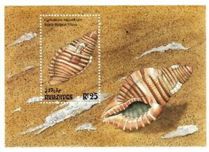 VINTAGE CLASSICS - Maldives 1857 - Black Striped Triton Shells - S/S - MNH