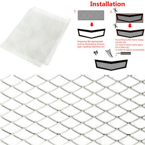 "1 Sheet 40""x 13"" Rhombus Silver Grille Net Car Hood Vent Engine Mesh Protect Net"