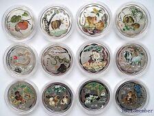 New 12 Chinese Lunar Zodiac Silver colour  Coins  45mm