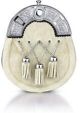White Cross chain Leather Sporran Brass Cantle Scottish Kilt Wallet