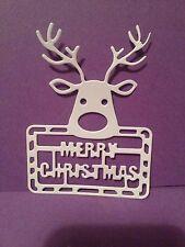 10 x White  (Merry Christmas) Reindeer  Die Cuts
