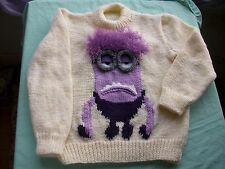 Minion jumper, sweater, pullover, Knitting pattern in 6 sizes. Children, xmas.
