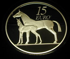 IRELAND 15 EURO SILVER PROOF COIN. 2010. LIMITED. HORSE. FREE SHIPPING.