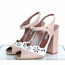 TABITHA SIMMONS $875 cut-out brogue leather Kitty sandals high heel shoes 39 NEW