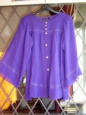 """*Gudrun Sjoden* pure silk folkloric embroidered layering blouse S 38"""""""
