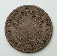 Dated : 1844 - Belgium - Two Centimes - 2 Cent Coin - Leopold I
