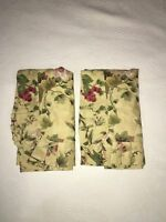 WAVERLY (2) Antique Gold Tuscan Floral Grapes Standard Pillow Shams EUC