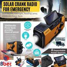 Emergency Solar Hand Crank Portable Radio Power Bank Charger Flash Light Weather