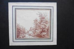 GERMAN SCHOOL 18thC - FARM IN WOODED LANDSCAPE SIGNED SCHULTZE - RED CHALK
