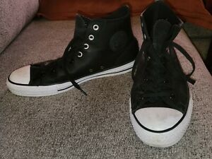Converse All Star Mens Black Leather Hi Tops Skateboarding Shoes 11
