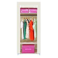 Beige Single Canvas Wardrobe Bedroom Hanging Rail Storage Wardrobe Furniture New