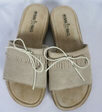Minnetonka Moccasins Suede Fringe Slip Slide On Sandals Beige Tan Sz 6
