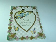 Vintage Best Valentine Wishes Butterfly Card dated 1920