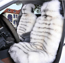 1pc Tiger White Pelt Sheepskin Long Fur Car Seat Covers one Size Fit most