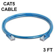 3 Ft Cat5 Cable Ethernet Lan Cat5e Rj45 Network Patch Cord Internet Router Blue