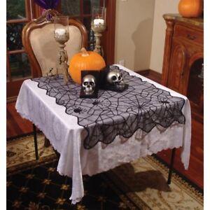 "Spider Web Lace Table Cloth 43"" x 28"" Black Poly Knit Festive Halloween Decor"