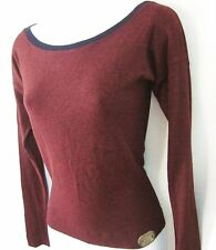 DOLCE & GABBANA Dark Wine Knit Long-Sleeve Pullover Top Boatneck SIZE XS
