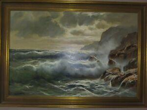 Italian Coastal Seascape Oil Painting by Guido Odierna circa 1950
