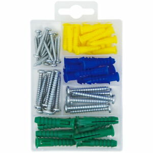 66 pcs Plastic Self Drilling Drywall Ribbed Anchors kit Assortment with Screws