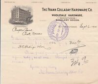 U.S. The Frank Colladay Hardware Co. Kansas 1910 Illustrated Invoice  Ref 43571