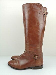 TRICKERS Designer Brown Tan Leather Knee High Heel Shoe Boot Size 4.5 37.5