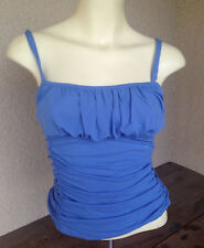 INC International Concepts Tank Top Small Slate Blue Knit S Gathered Short Nylon