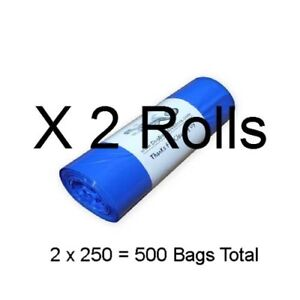 500 Doggy Waste Bags (2 Rolls of 250) Blue Biodegradable Large 8x14