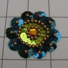 AQUA COMBO SEQUIN BEADED FLOWER APPLIQUE  2424-D