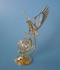 "SWAROVSKI CRYSTAL ELEMENTS  ""EAGLE ON GLOBE""  FIGURINE 24KT GOLD PLATED"