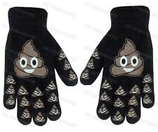 Childrens Boys Girls Kids Emoji Print Funny Face Knitted Gloves Winter Warm Option 2