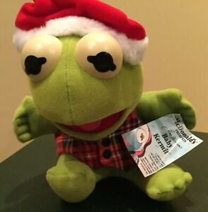 "McDonalds 1987 Baby Kermit The Frog Santa Hat 9"" Plush Toy Jim Henson w/tag"