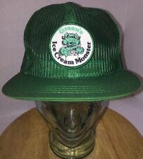VTG GREEN'S ICE CREAM MONSTER 80s USA All Green Mesh Trucker Hat Cap Snapback