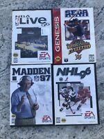 Sega Genesis Madden 97 W.s. Baseball NHL NBA Live  96 Complete Tested Works Game