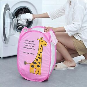 Foldable Laundry Basket Mesh Hamper Bag Cartoon Washing Clothes Storage Toys Bin
