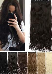 Long wavy 5 clip in one piece synthetic natural hair extensions
