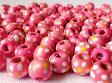 100 PALE PINK ROUND FLOWER WOOD JEWELLERY MAKING BEADS CRAFTS 10mm W0128