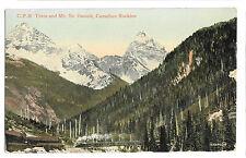 CPR Train & Mt Sir Donald, Canadian Rockies PPC, Silverton Duplex PMK 1915