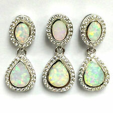 ART DECO INSPIRED WHITE GILSON OPAL SET PENDANT EARRINGS 925 STERLING SILVER